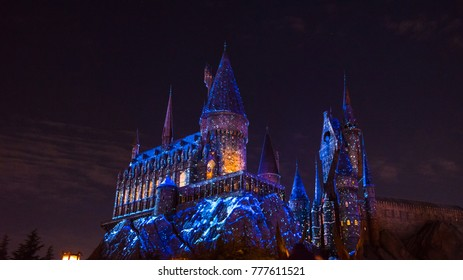 OSAKA, JAPAN - DECEMBER 2, 2017 : Christmas lighted up at Hogwarts School in Harry Potter Attraction Zone in Universal Studio Japan