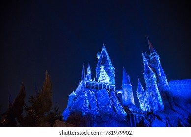 OSAKA, JAPAN - DECEMBER 2, 2017 : Christmas & New Year lighted up at Hogwarts School in Harry Potter Attraction Zone in Universal Studio Japan