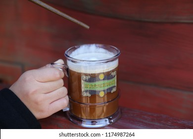 Osaka / Japan - December 20 2017: The Famous Butterbeer Available in  Wizarding World of Harry Potter Section Of Universal Studios JApan
