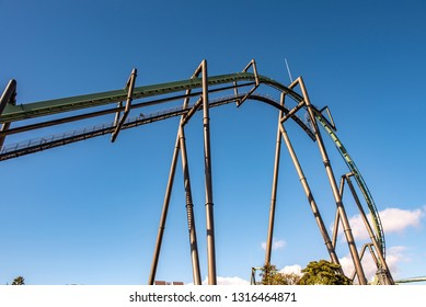 OSAKA, JAPAN - DECEMBER 30, 2018 :  The flying dinosaur roller coaster ride, exciting adventure of Jurassic park at Universal studios theme park located at Osaka, Japan.