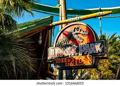 OSAKA, JAPAN - DECEMBER 30, 2018 : Sign board of Jurassic park the ride is a famous theme park, the park is a great variety of attractions and entertainment located at Universal Studios, Osaka, Japan.
