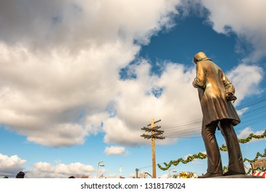 OSAKA, JAPAN - DECEMBER 30, 2018 : American metal statue located at the zone of New York theme, Universal studios Japan is the theme park famous and landmark of kansai region located at Osaka, Japan.