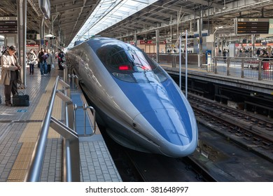"OSAKA, JAPAN - DECEMBER 4: the 500 Series bullet train at Shin Osaka station on December 4,2012 in Osaka, Japan. 500 Series service as ""Kodama(Echo)"" for Sanyo  Shinkansen line (Osaka - Hakata route)."