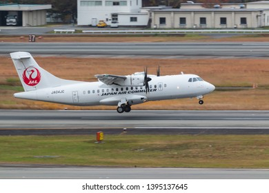 Osaka, Japan. December 7, 2018.  Japan Air Commuter ATR 42 Reg. JA04JC Taking Off from Osaka Itami International Airport.