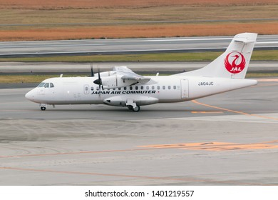 Osaka, Japan. December 7, 2018.  Japan Air Commuter ATR 42 Reg. JA04JC Taxi to Runway for Departure from Osaka Itami International Airport