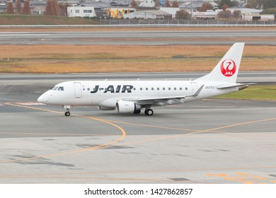 Osaka, Japan. December 7, 2018. J-Air Embraer ERJ-170 Reg. JA217J Taxi to Gate Terminal after Land at Osaka Itami International Airport