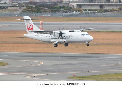 Osaka, Japan. December 7, 2018. Japan Air Commuter ATR 42 Reg.JA04JC Landing at Osaka Itami International Airport.