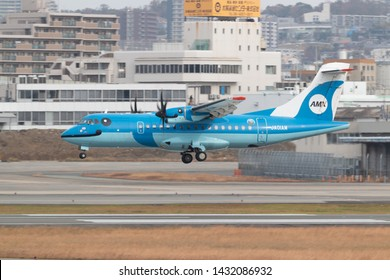 Osaka, Japan. December 7, 2018. Amakusa Airlines ATR 42 Reg. JA01AM Dolphin livery Landing at Osaka Itami International Airport.