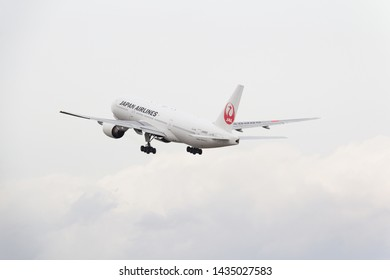 Osaka, Japan. December 7, 2018. Japan Airlines Boeing 777-200 Reg. JA8985 Taking Off from Osaka Itami International Airport.