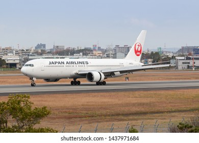 Osaka, Japan. December 7, 2018. Japan Airlines Boeing 767-300 Reg. JA623J Landing at Osaka Itami International Airport.
