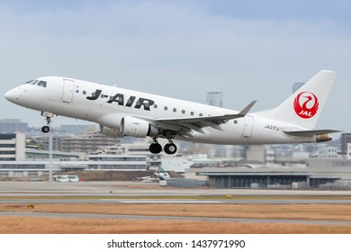 Osaka, Japan. December 7, 2018. J-Air Embraer ERJ-170 Reg. JA217J Taking Off from Osaka Itami International Airport.