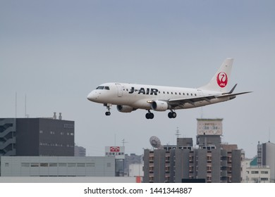 Osaka, Japan. December 7, 2018. J-Air Embraer ERJ-170STD (ERJ-170-100) Reg. JA225J Landing at Osaka Itami International Airport.