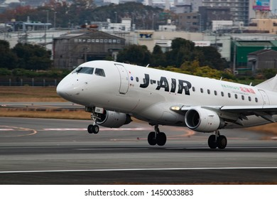 Osaka, Japan. December 7, 2018. J-Air Embraer ERJ-170STD (ERJ-170-100) Reg. JA228J Taking Off from Osaka Itami International Airport. Close Up.