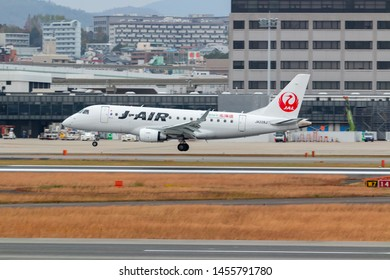 Osaka, Japan. December 7, 2018. J-Air Embraer ERJ-170STD (ERJ-170-100) Reg.JA228J Landing at Osaka Itami International Airport.
