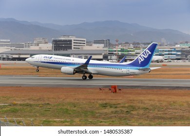Osaka, Japan. December 7, 2018. ANA All Nippon Airways Boeing 737-800 Reg. JA70AN Taking Off from Osaka Itami International Airport.