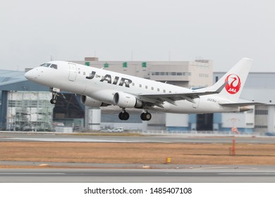 Osaka, Japan. December 7, 2018. J-Air Embraer ERJ-170 Reg. JA219J Taking Off from Osaka Itami International Airport.