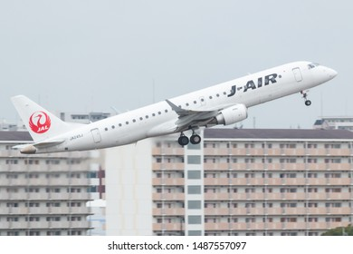 Osaka, Japan. December 7, 2018. J-Air Embraer ERJ-190 Reg. JA245J Taking Off from Osaka Itami International Airport.