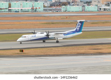 Osaka, Japan. December 7, 2018. ANA Wings De Havilland Canada DHC-8-402Q Dash 8 Reg. JA847A Taxi to Gate Terminal after Land at Osaka Itami International Airport