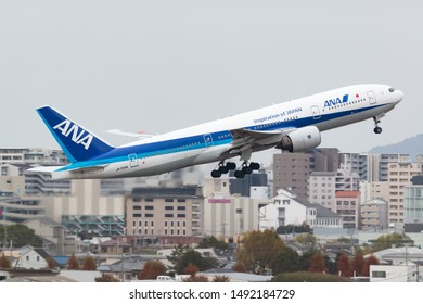 Osaka, Japan. December 7, 2018. All Nippon Airways Boeing 777-200 Reg. JA704A Taking Off from Osaka Itami International Airport.