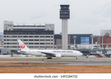 Osaka, Japan. December 7, 2018. Japan Airlines Boeing 777-200 Reg. JA8985 Taxi to Runway for Departure from Osaka Itami International Airport