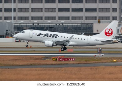 Osaka, Japan. December 7, 2018. J-Air Embraer ERJ-170STD (ERJ-170-100) Reg. JA213J Landing at Osaka Itami International Airport.