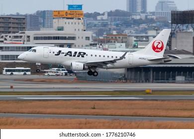 Osaka, Japan. December 7, 2018. J-Air Embraer ERJ-170STD (ERJ-170-100) Reg. JA225J Landing at Osaka Itami International Airport.