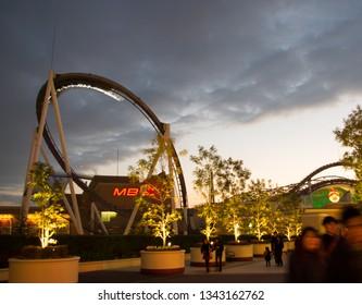 Osaka, Japan - December 8, 2013: Roller-coaster at USJ Universal Studios Japan theme park on the sunset