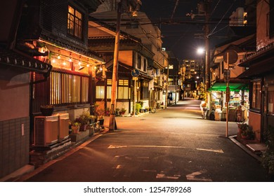 Osaka, Japan - December 8, 2018: Empty street in quiet Nakazakicho neighborhood at night