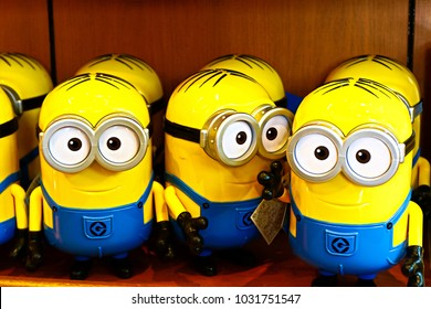 "OSAKA, JAPAN - Feb 03, 2018 : Souvenir of ""HAPPY MINIONS"", located in Universal Studios Japan, Osaka, Japan. Minions are famous character from Despicable Me animation."