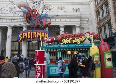 OSAKA, JAPAN - FEB 04, 2017 : The amazing adventures of Spiderman in Universal Studio Japan (USJ).