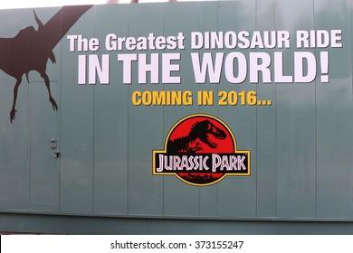 OSAKA, JAPAN - Feb 06, 2016 : Photo of the Dinosaur Ride New attraction Comming Soon at Universal Studios JAPAN, Osaka, Japan.
