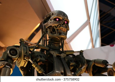 OSAKA, JAPAN - Feb 11, 2016 : Photo of the T-800 Endoskeleton from the Terminator 3D,one of the most famous attraction at Universal Studios JAPAN, Osaka, Japan.