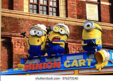 "OSAKA, JAPAN - FEB 11, 2016 : Photo of ""HAPPY MINION MART"" shop, selling Minion Goods, located in Universal Studios JAPAN, Osaka, Japan. Minions are famous character from Despicable Me animation."