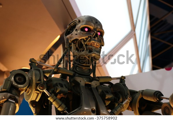 OSAKA, JAPAN - Feb 11, 2016 : Photo of the T-800 End skeleton from the Terminator 3D,one of the most famous attraction at Universal Studios Japan, Osaka, Japan.