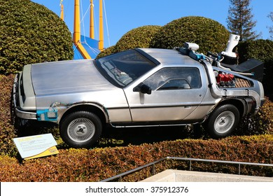 OSAKA, JAPAN - Feb 12, 2016 : Use movie of Ready Player One. Photo of De Lorean from Back to the Future at Universal Studios Japan.