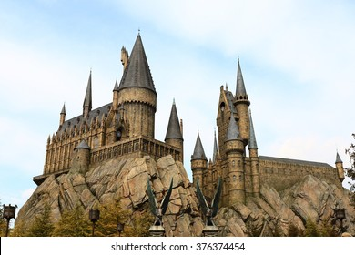 Osaka, Japan - Feb 12, 2016: The Wizarding World of Harry Potter in Universal Studios Japan. Universal Studios Japan is a theme park in Osaka, Japan.Hogwarts Castle