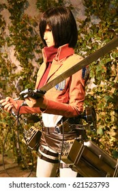 Osaka, Japan - Feb 12 2016:Attack on Titan at Universal Studios japan,Clone-oid of Mikasa Ackerman from Shingeki no Kyojin