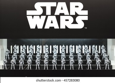 """Osaka, Japan - Feb 27 2016, First Order Stormtroopers army figure display from Starwars VII """"The Force Awakens"""""""
