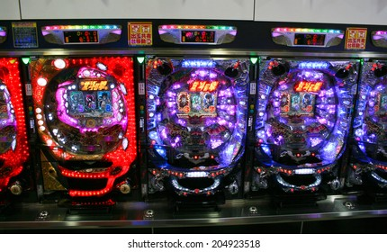 OSAKA, JAPAN - FEBRUARY 20. 2012: Pachinko Machines  used for recreational arcade game and as a gambling device, filling a Japanese gambling niche comparable to slot machines in Western gaming.