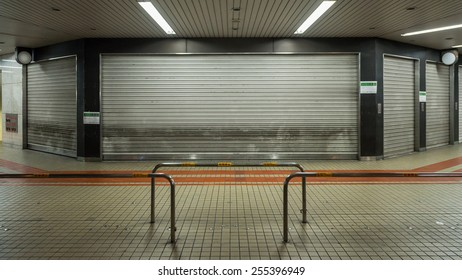 OSAKA, JAPAN - FEBRUARY 20, 2015: Closed shopping street.