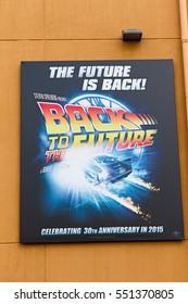 OSAKA, JAPAN - Jan 07: Back To The Future Sign on JANUARY 07, 2017 at Universal Studios JAPAN in Osaka, Japan