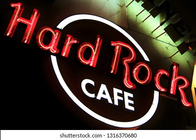 Osaka, JAPAN - Jan 09, 2019: The Iconic sign of Hard Rock Cafe restaurant in Hard Rock Cafe Universal City Walk Osaka. Hard Rock Cafe is a chain of theme restaurants.