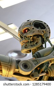 OSAKA, JAPAN - Jan 14, 2018 : Photo of T-800 Model End skeleton from the Terminator 3D Movie,one of the most famous attraction at Universal Studios JAPAN, Osaka, Japan.