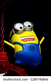 OSAKA, JAPAN - Jan 14, 2019 : Close up of HAPPY MINION statue, located in Universal Studios Japan. Minions are famous character from Despicable Me animation.