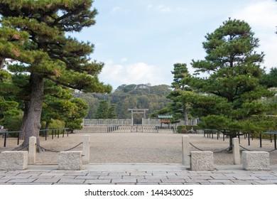 Osaka, Japan - Jan 16 2019- Gate of the Mausoleum of Emperor Nintoku (Daisen Kofun) in Sakai, Osaka, Japan. It is part of UNESCO World Heritage Site - Mozu-Furuichi Kofungun, Ancient Tumulus Clusters.