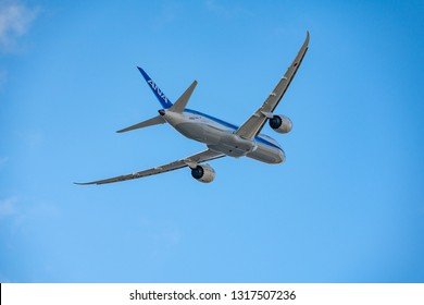 OSAKA, JAPAN - JAN. 2, 2019: ANA Boeing 787-9 Dreamliner taking off from the Itami International Airport in Osaka, Japan.