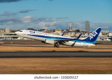 OSAKA, JAPAN - JAN. 2, 2019: ANA Boeing 737-800 taking off from the Itami International Airport in Osaka, Japan.