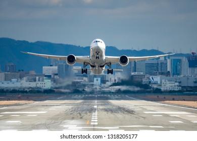 OSAKA, JAPAN - JAN. 2, 2019: ANA Boeing 787-9 Dreamliner taking off from the Itami International Airport in Osaka, Japan.