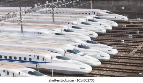 Osaka, Japan - Jan 30, 2018: Shinkansen bullet trains lined up at Torikai rail yard