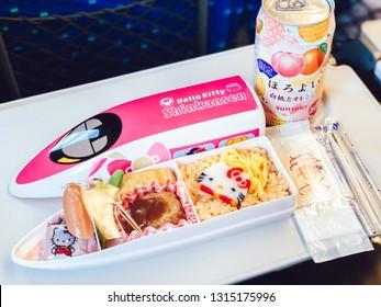 Osaka, Japan - Jan.24th 2019: Having Hello Kitty luch box on Hello Kitty Shinkansen, The cutest bullet train service running on the Sanyo Shinkansen line between Shin Osaka station and Hakata station